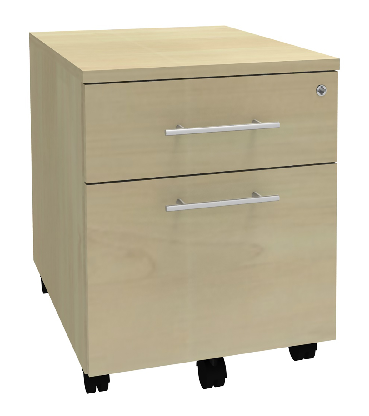 Caisson mobile WOODY / STEELY - L43 x H56 x P60 cm - 2 tiroirs dont 1 DS - Imitation Erable