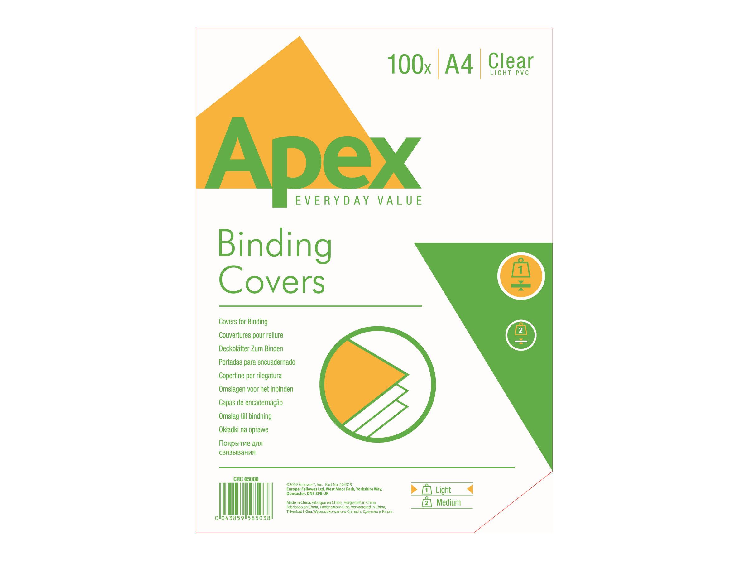 Fellowes - 100 couverture à reliures A4 (21 x 29,7 cm) - plastique 80 microns - transparent