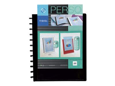 Viquel Geode - Porte vues personnalisable à pochettes repositionnables - 60 vues - A4 - noir