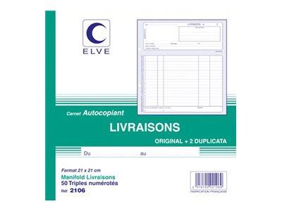 ELVE - Manifold Carnet de livraisons - 50 tripli - 21 x 21 cm