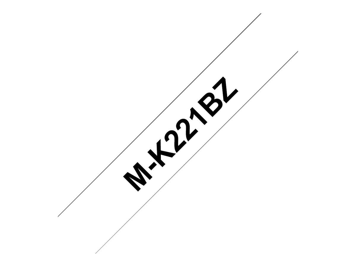 Brother MK221BZ - Ruban d'étiquettes auto-adhésives - 1 rouleau (9 mm x 8 m) - fond blanc écriture noire