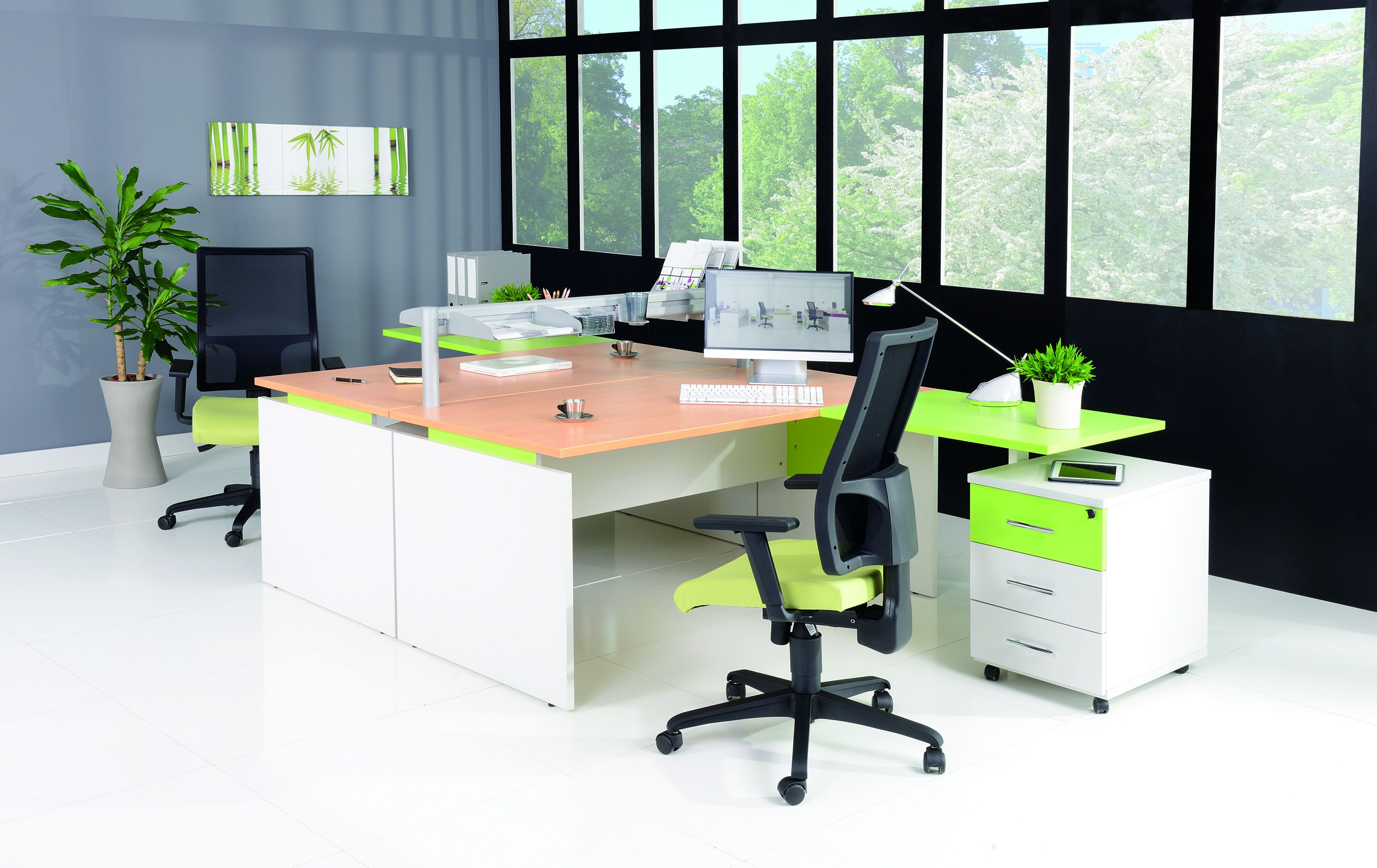 Bureau INEO - Réglable en hauteur - L120 x H74/78/82 x P80 cm - Pieds blanc - plateau blanc - Entretoise Blanc
