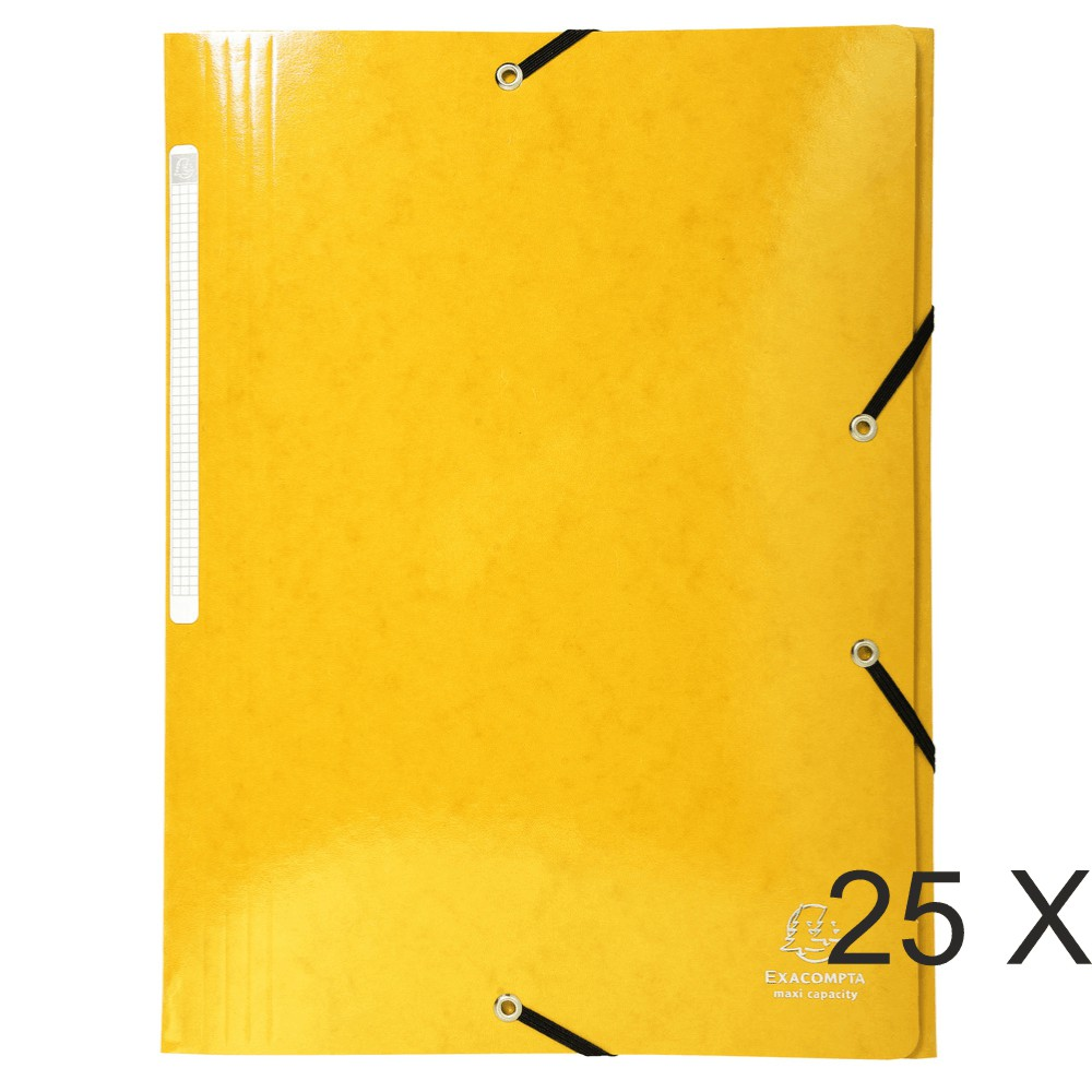Exacompta Iderama - 25 Chemises à rabats maxi capacity - jaune (gaufrées pelliculées)