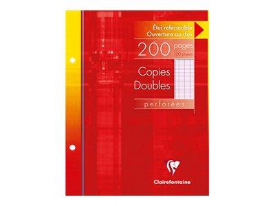 Clairefontaine - 200 copies doubles 17x22 cm - grands carreaux (Seyes) - perforées