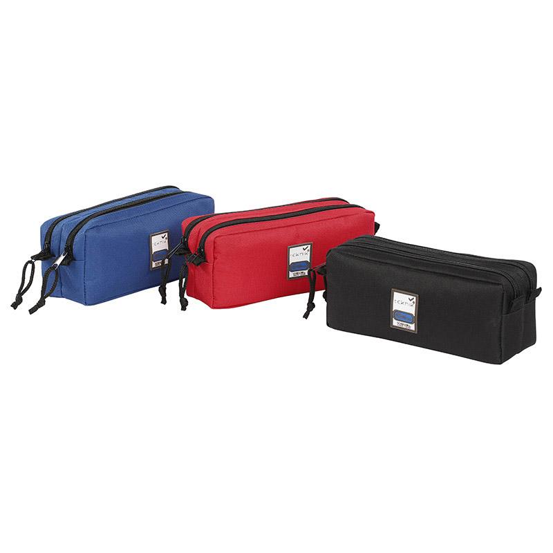 Trousse rectangulaire Teknik Double - 2 compartiments - 3 coloris disponibles - Viquel