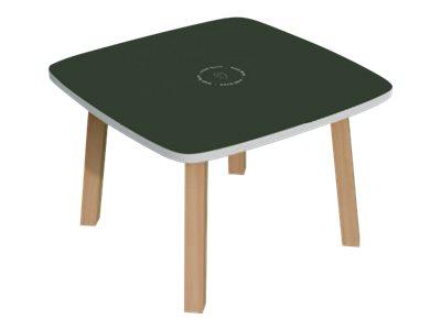 Table basse WOODY - L60 x H40 x P60 cm - plateau vert