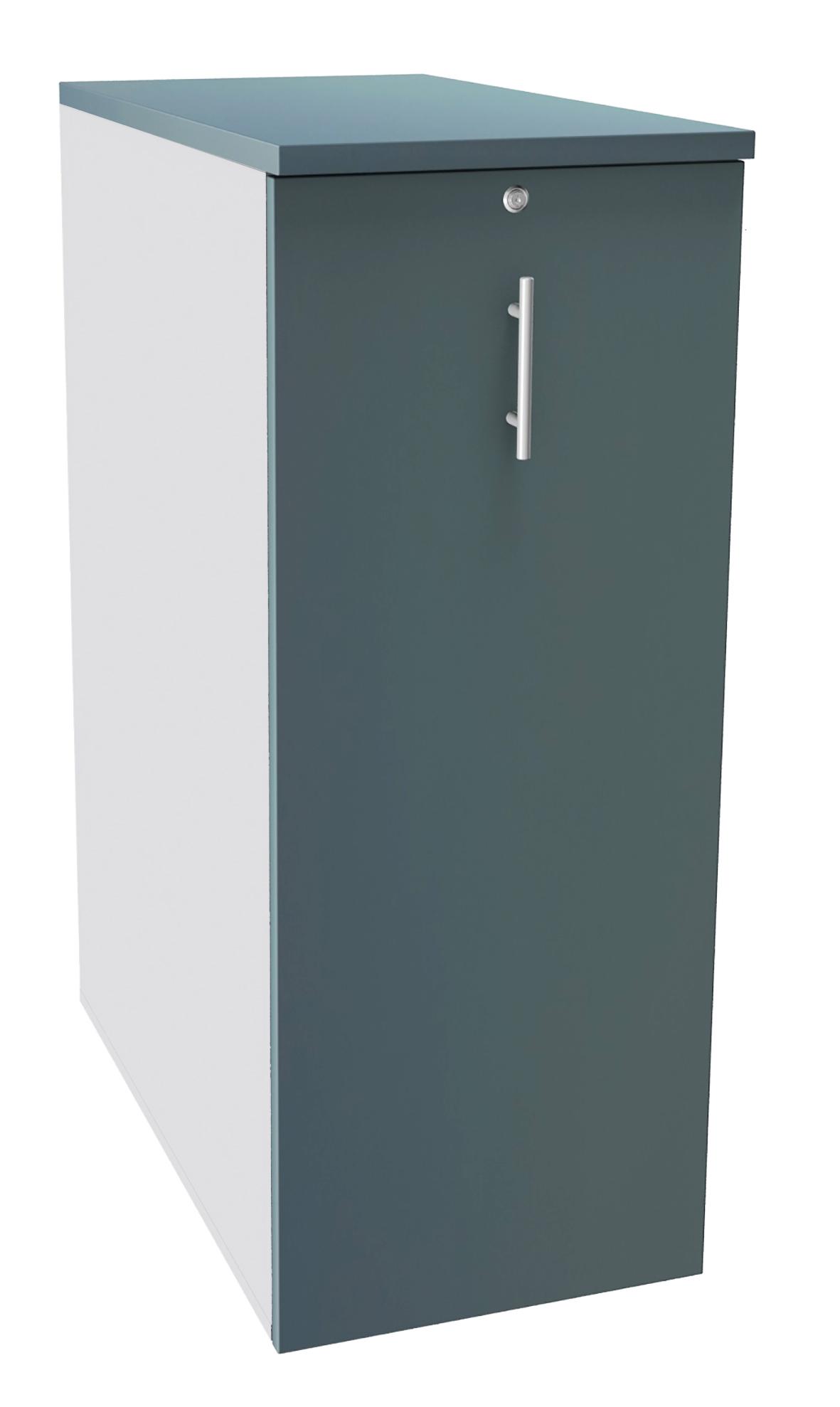 Caisson TOWER - L44 x H114 x P80 cm - 3 tablettes + 1 support DS réglable - structure blanc perle - dessus et façade bleu argile