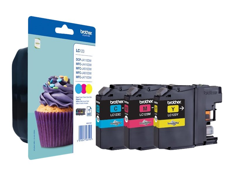 Brother LC123 - Pack de 3 - cyan, magenta, jaune - cartouche d'encre originale