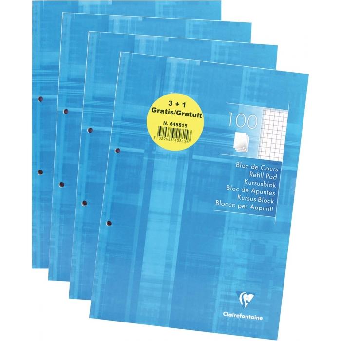 Clairefontaine - 4 Blocs de cours A4 + - 160 pages - petits carreaux (5x5 mm)