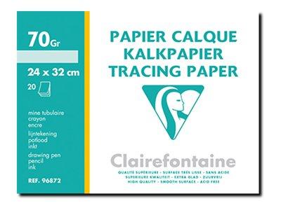 Clairefontaine - Fine Arts - pochette papier à dessin  calque - 20 feuilles - 24 x 32 cm - 70G