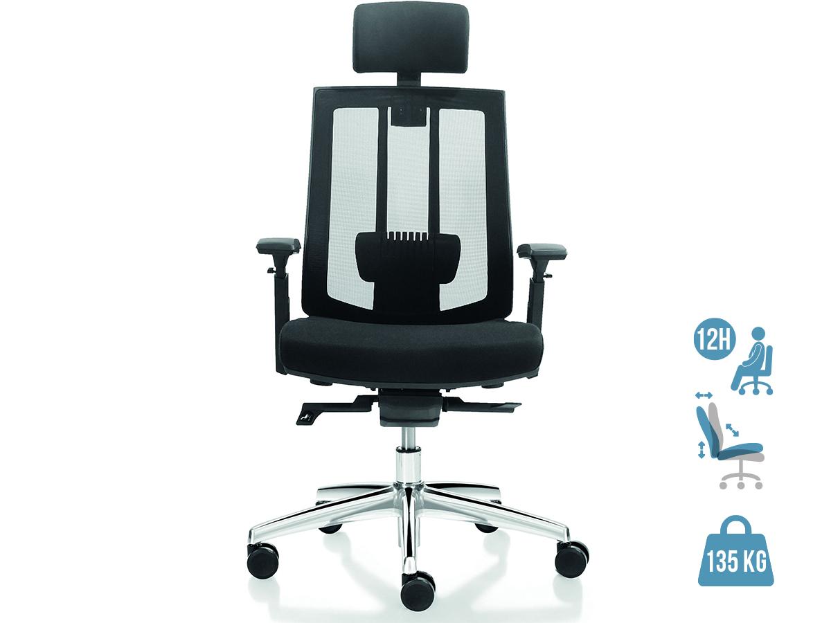 Fauteuil de bureau ergonomique SHADE - accoudoirs réglables - appuie-tête réglable - noir