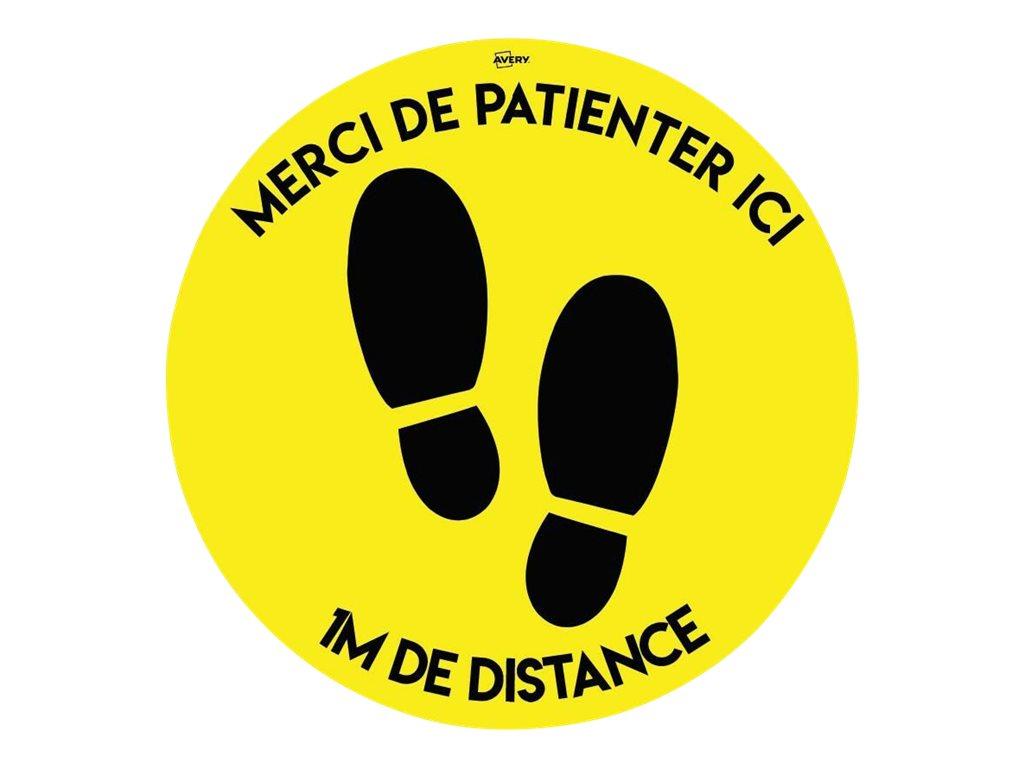 Avery - 2 Stickers de sol jaune antidérapant - distance 1m