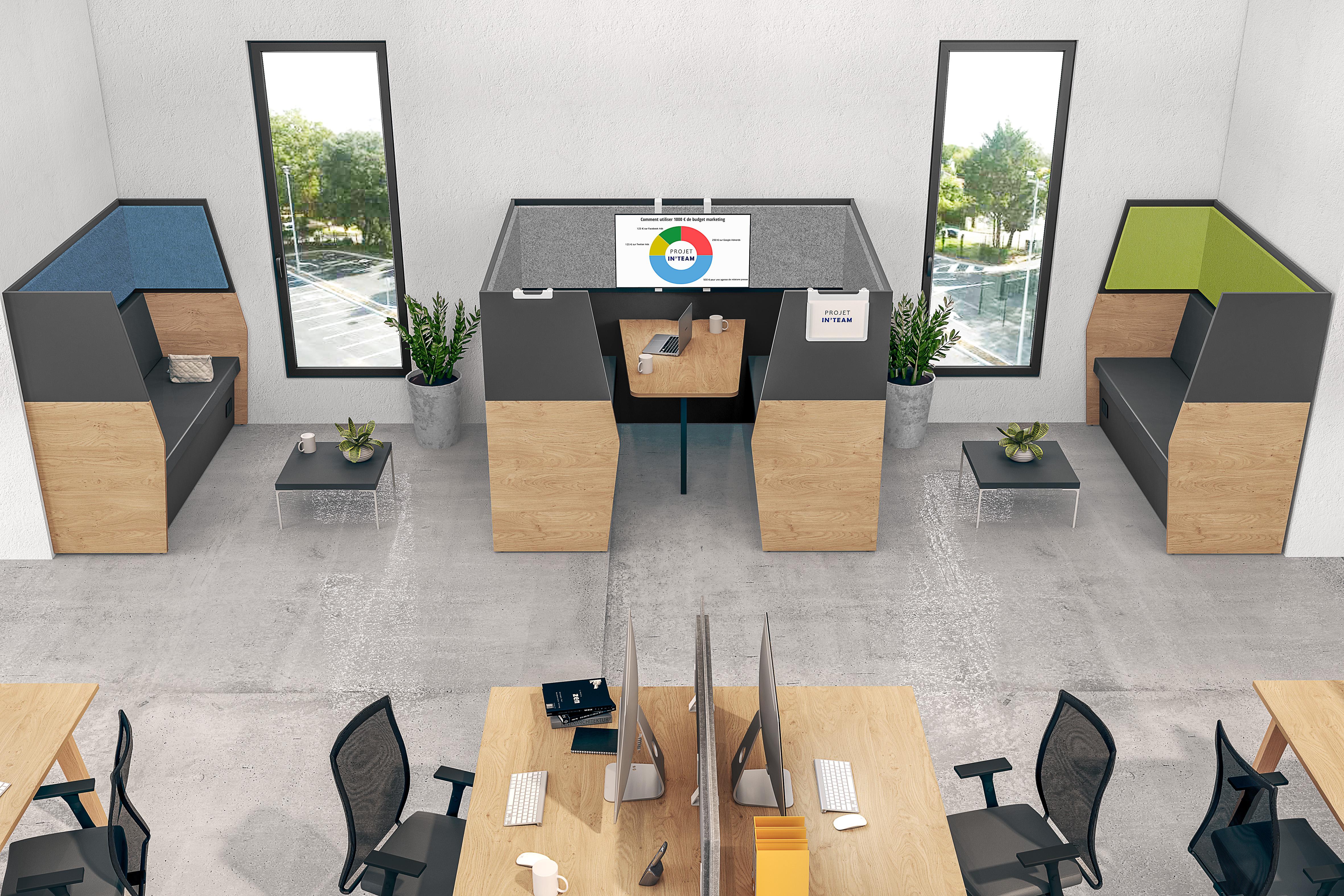 Box acoustique IN'TEAM - L210 x H 150 x P170 cm - 6 places avec table - structure chêne clair et carbone - panneaux gris chiné