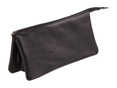 Clairefontaine - Trousse plate 3 compartiments - cuir - noir