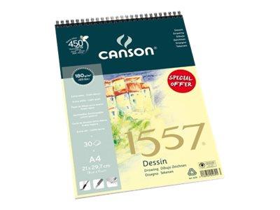 Canson 1557 - Bloc dessin - 30 feuilles - A4 - 180 gr - blanc