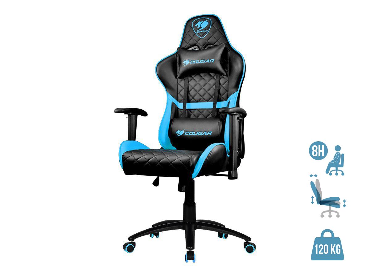 Fauteuil gamer Armor One Sky Blue - accoudoirs réglables - Noir et bleu