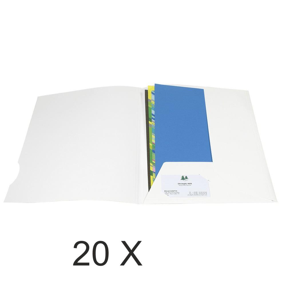 Exacompta Chromolux - 20 Chemises de présentation - A4 - 250 gr - blanc