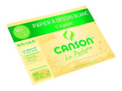 Canson C à grain - Pochette papier à dessin - 12 feuilles - 24 x 32 cm - 125 gr - blanc