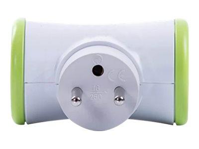 WATT & CO - Multiprise biplite rotative - blanc/vert