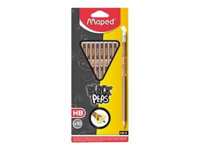 Maped Black'Peps - Pack de 10 crayons à papier - HB - 2,2 mm - embout gomme