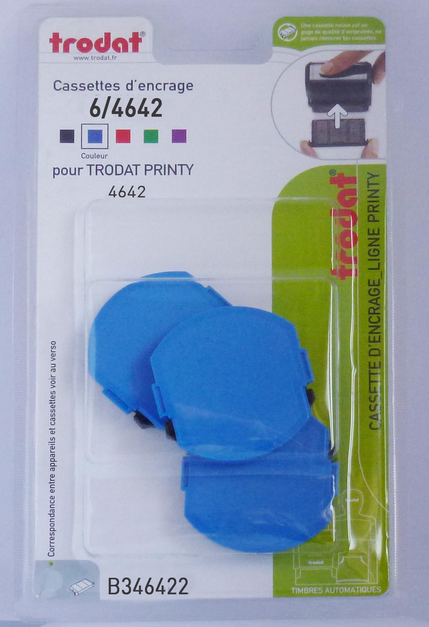 Trodat - 3 Encriers 6/4642 recharges pour tampon Printy 4642 - bleu