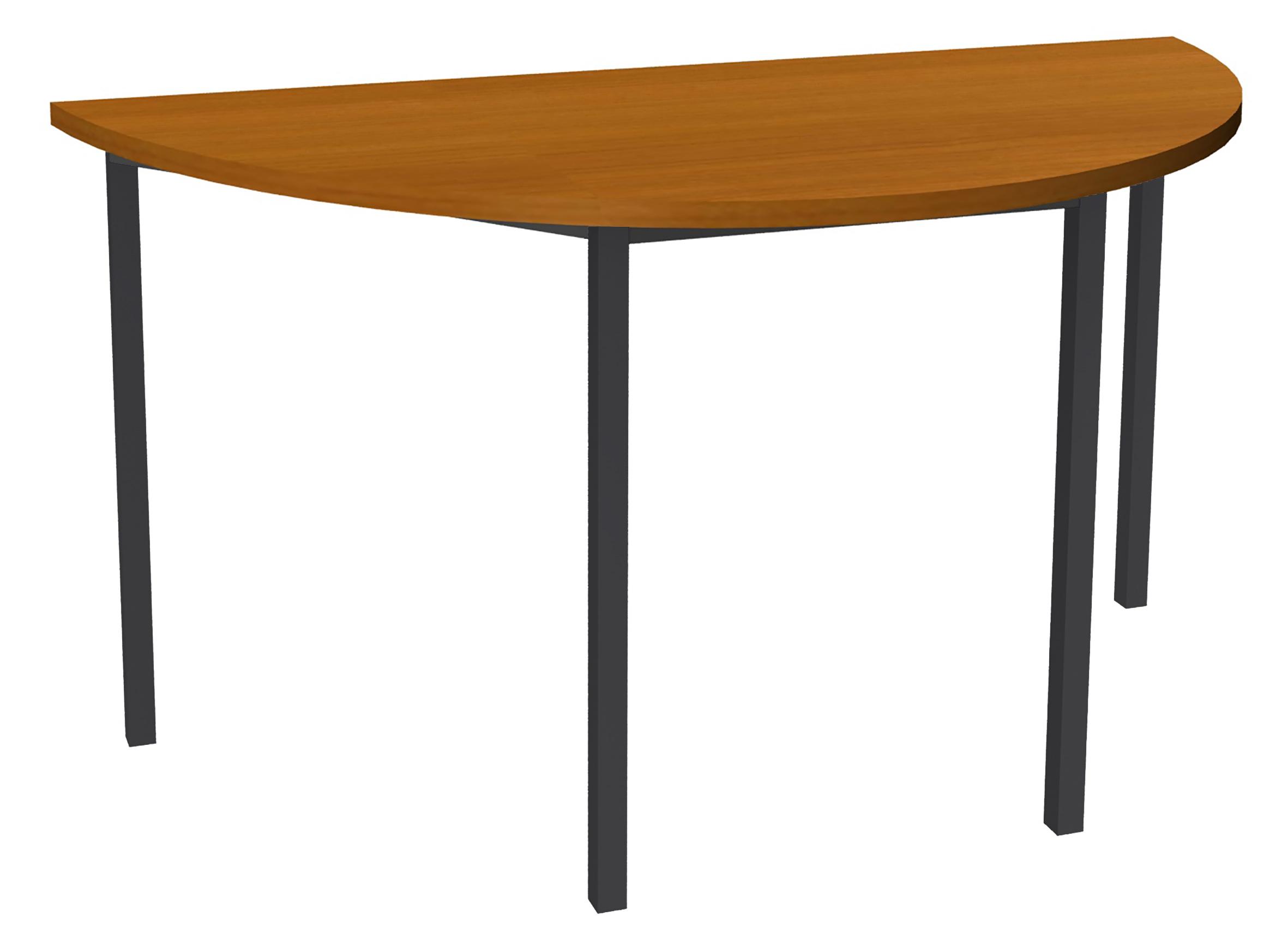 Table de réunion Demi-lune - 120 x 60 cm - Pieds anthracite - imitation merisier