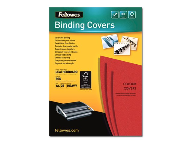Fellowes - 25 couvertures à reliure A4 (21 x 29,7 cm) - carton grain cuir  250 g/m² - Rouge