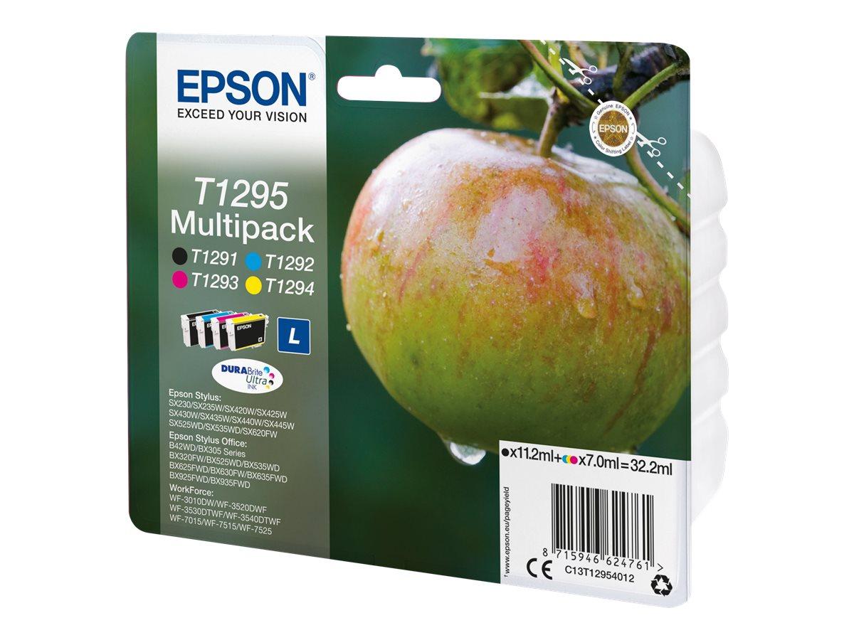 Epson T1295 Pomme - Pack de 4 - noir, cyan, magenta, jaune - cartouche d'encre originale