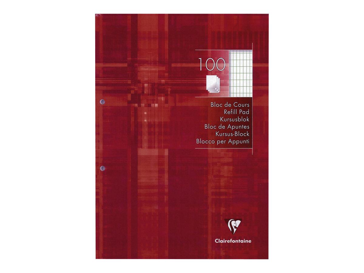 Clairefontaine - Bloc de cours A4 - perforé 2 trous - 200 pages - carreaux 4x8