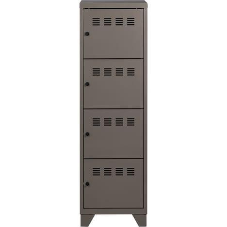 Casier de bureau monobloc métallique avec pieds - 4 portes - H134 x L40 x P40 cm - gris souris