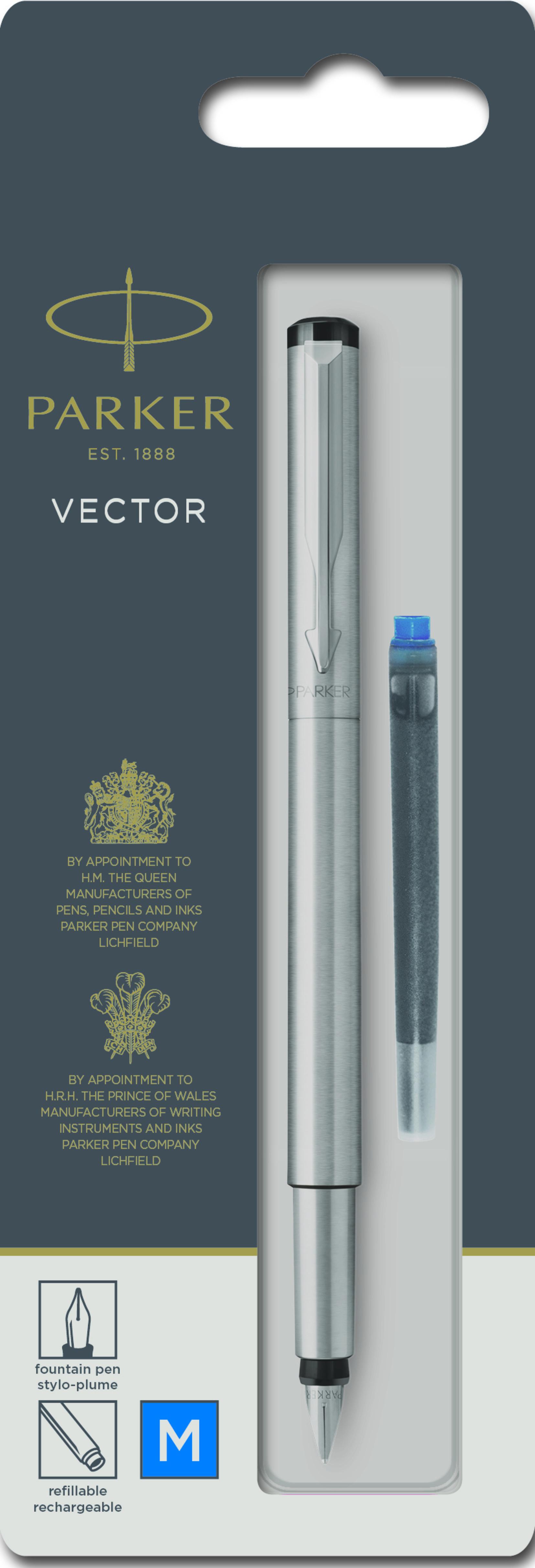 Parker Vector - Stylo plume + 1 cartouche - acier