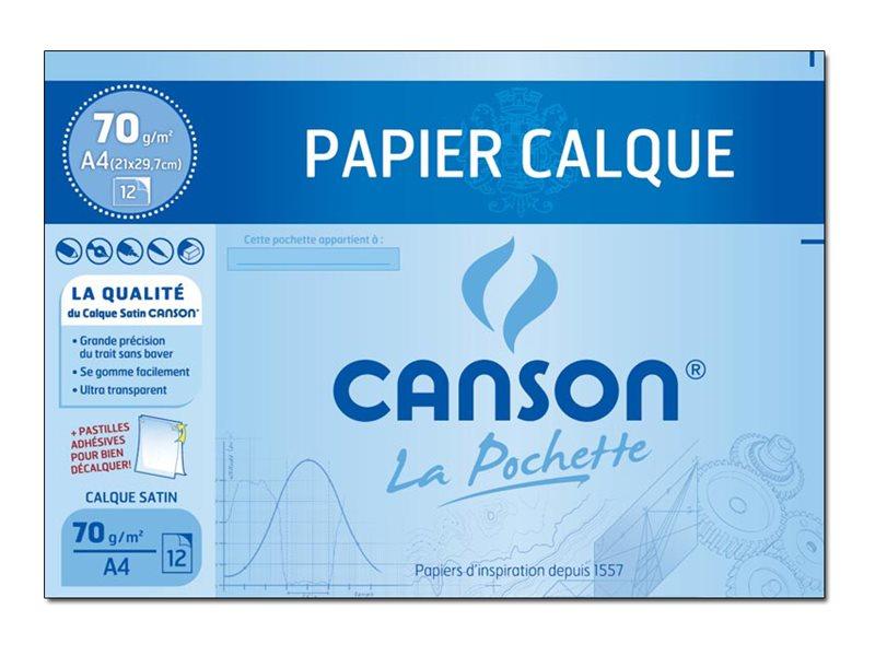 Canson - Pochette papier à dessin calque - 12 feuilles - 24 x 32 cm - 90G
