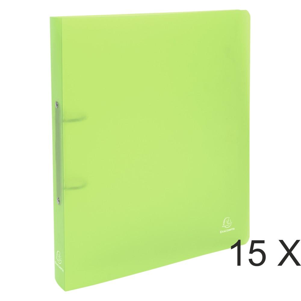 Exacompta Chromaline - 15 Classeurs 2 anneaux - Dos 40 mm - A4 Maxi - vert