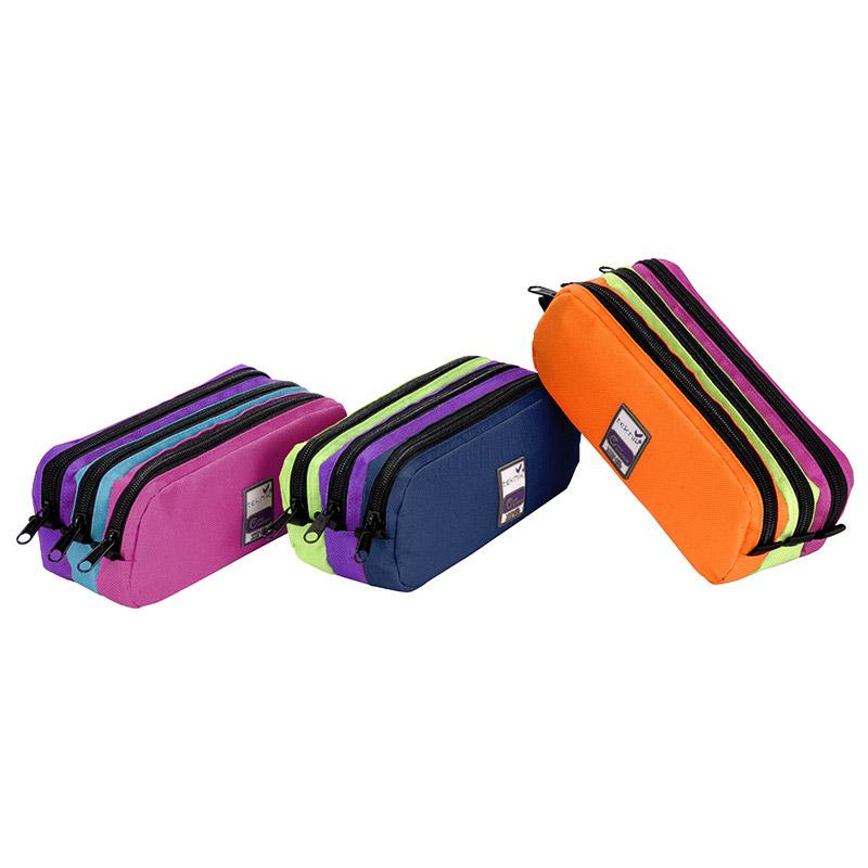 Trousse rectangulaire Trizip Girl - 3 compartiments - 3 coloris disponibles - Viquel