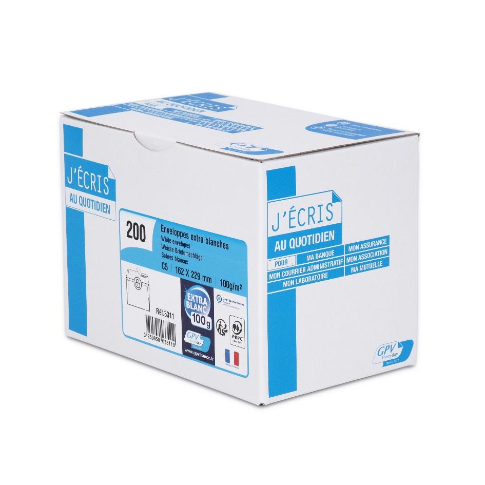 GPV - 200 Enveloppes C5 162 x 229 mm - 100 gr - sans fenêtre - blanc - bande adhésive