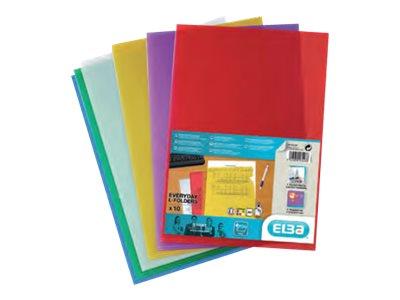 SHINE - 10 Pochettes coin - A4 - pour 25 feuilles - 12/100 - couleurs assorties transparentes