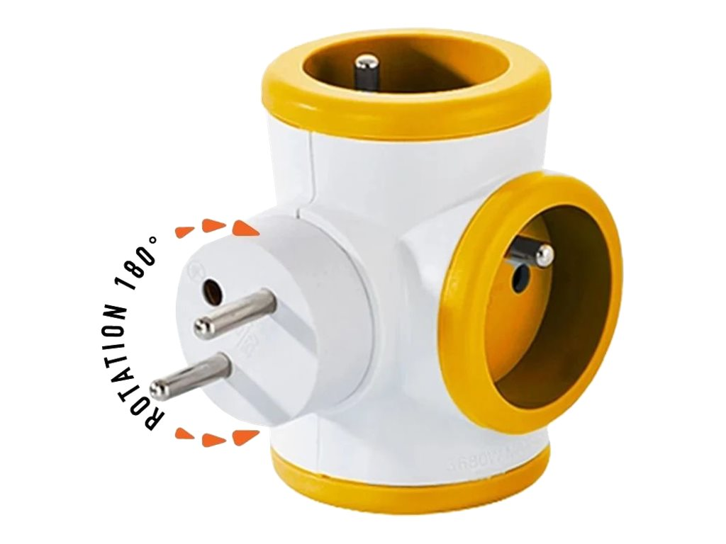WATT & CO - Multiprise triplite rotative - blanc/orange