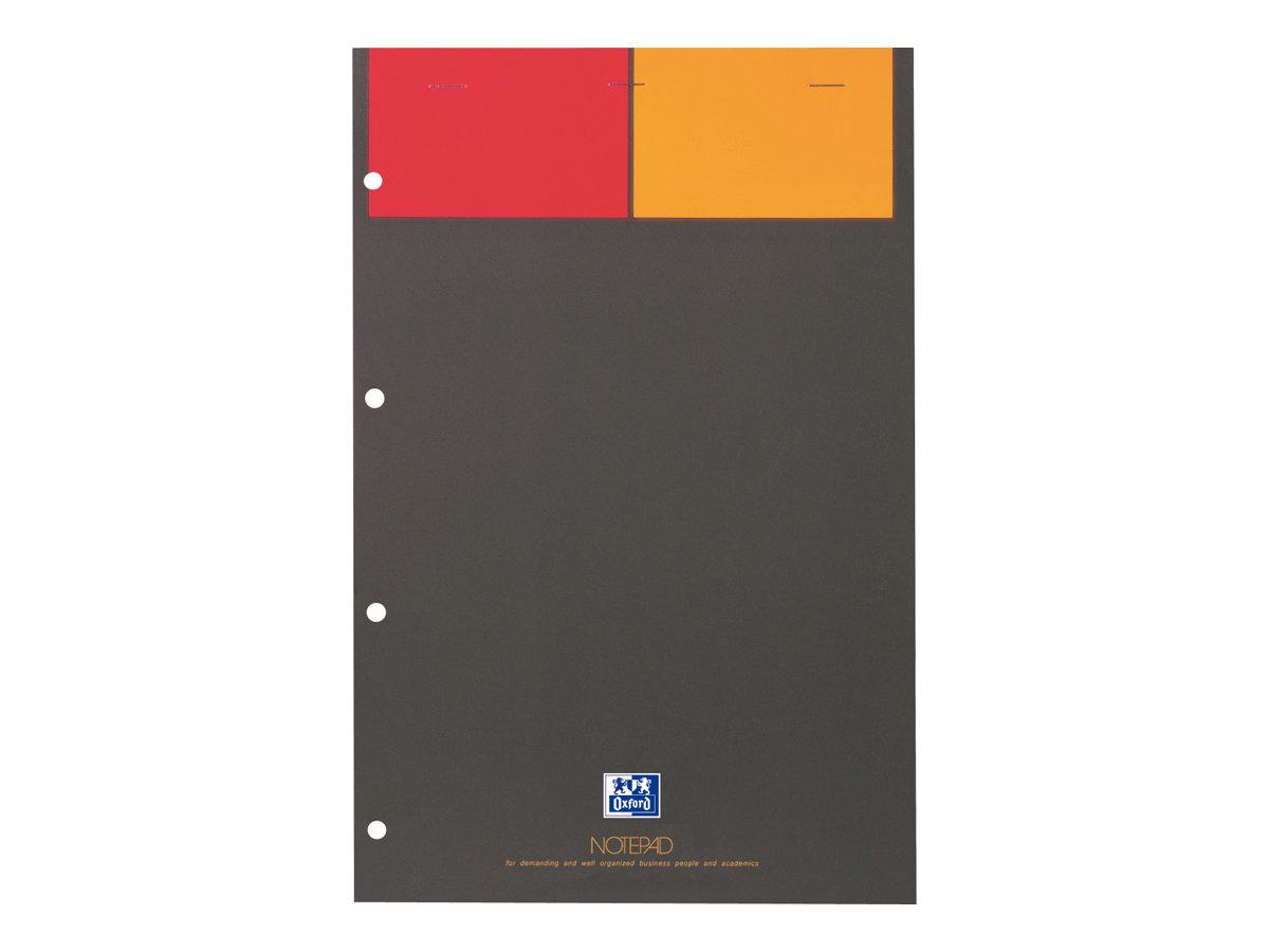 Oxford International - Bloc notes - A4 - 160 pages - petits carreaux - perforé