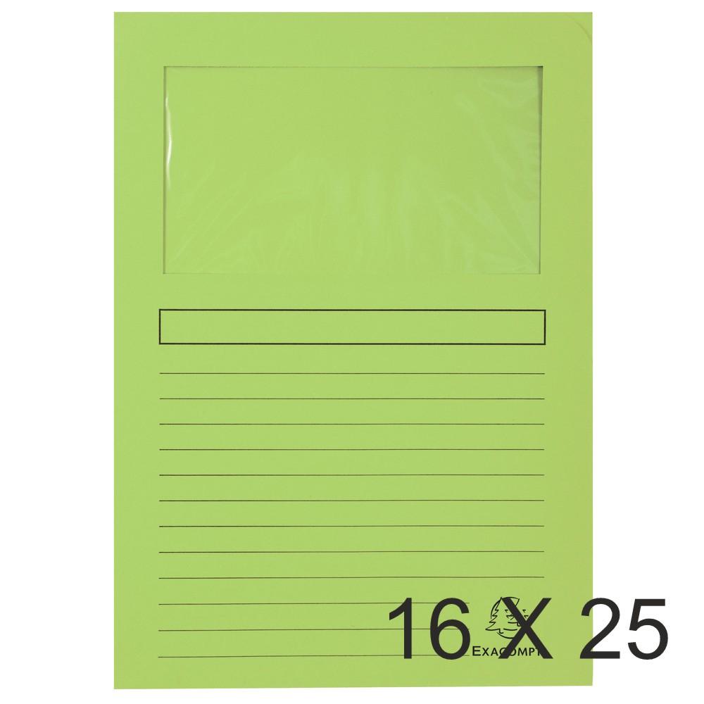 Exacompta Forever - 16 Paquets de 25 Chemises à fenêtre - 120 gr - vert pré
