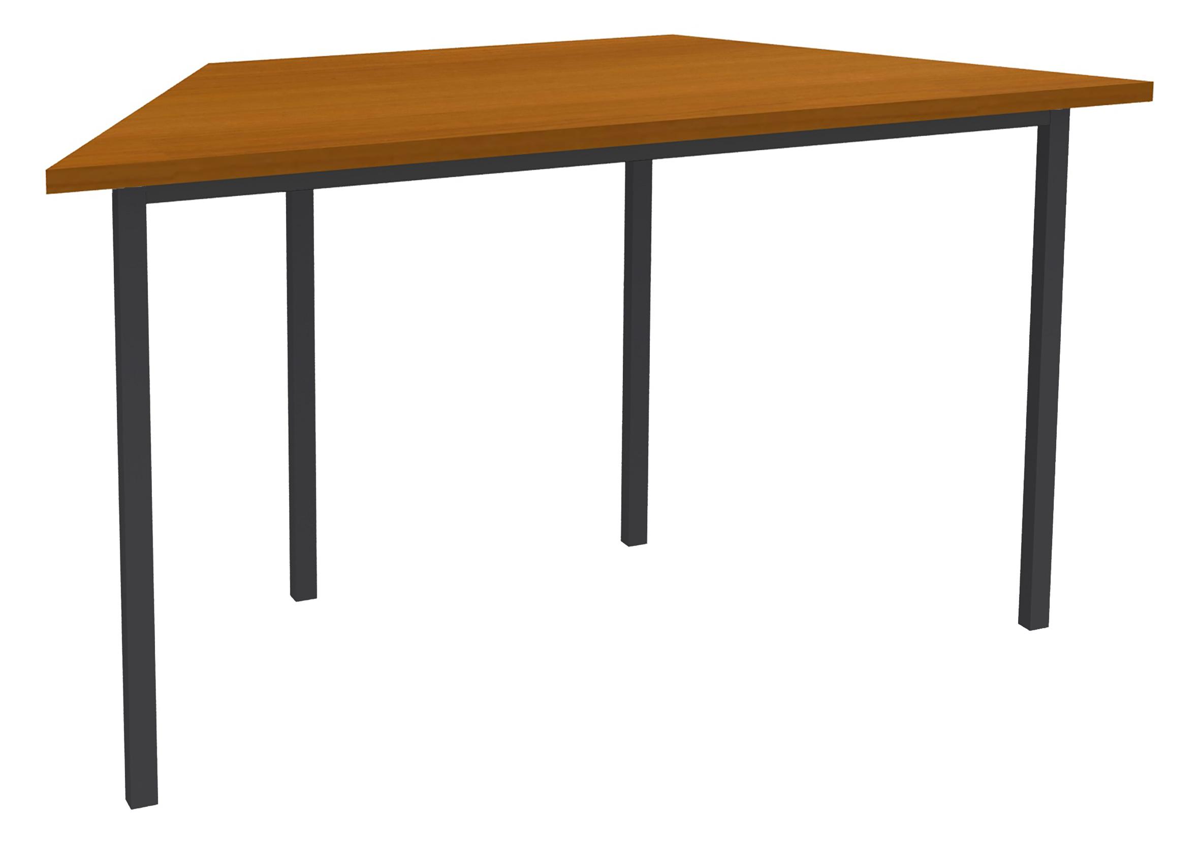 Table de réunion Trapèze - 120 x 60 cm - Pieds anthracite - imitation Merisier