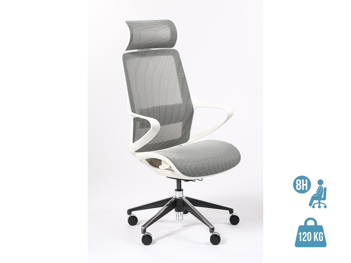 Fauteuil de bureau ergonomique ELVIRA - accoudoirs fixes - appuie-tête fixe - blanc
