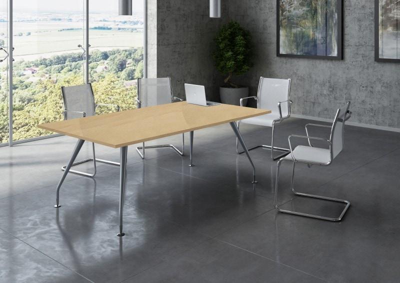Table de réunion PLAZA - L160 x H72 x P90 - Pieds métal - Plateau hêtre