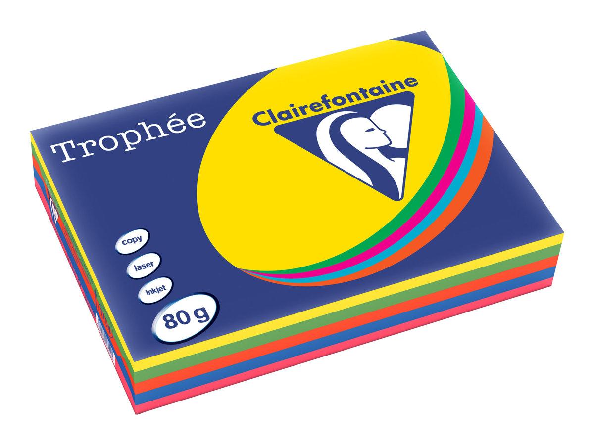 Clairefontaine Trophée - Papier couleur - A4 (210 x 297 mm) - 80 g/m² - 500 feuilles - coloris assortis