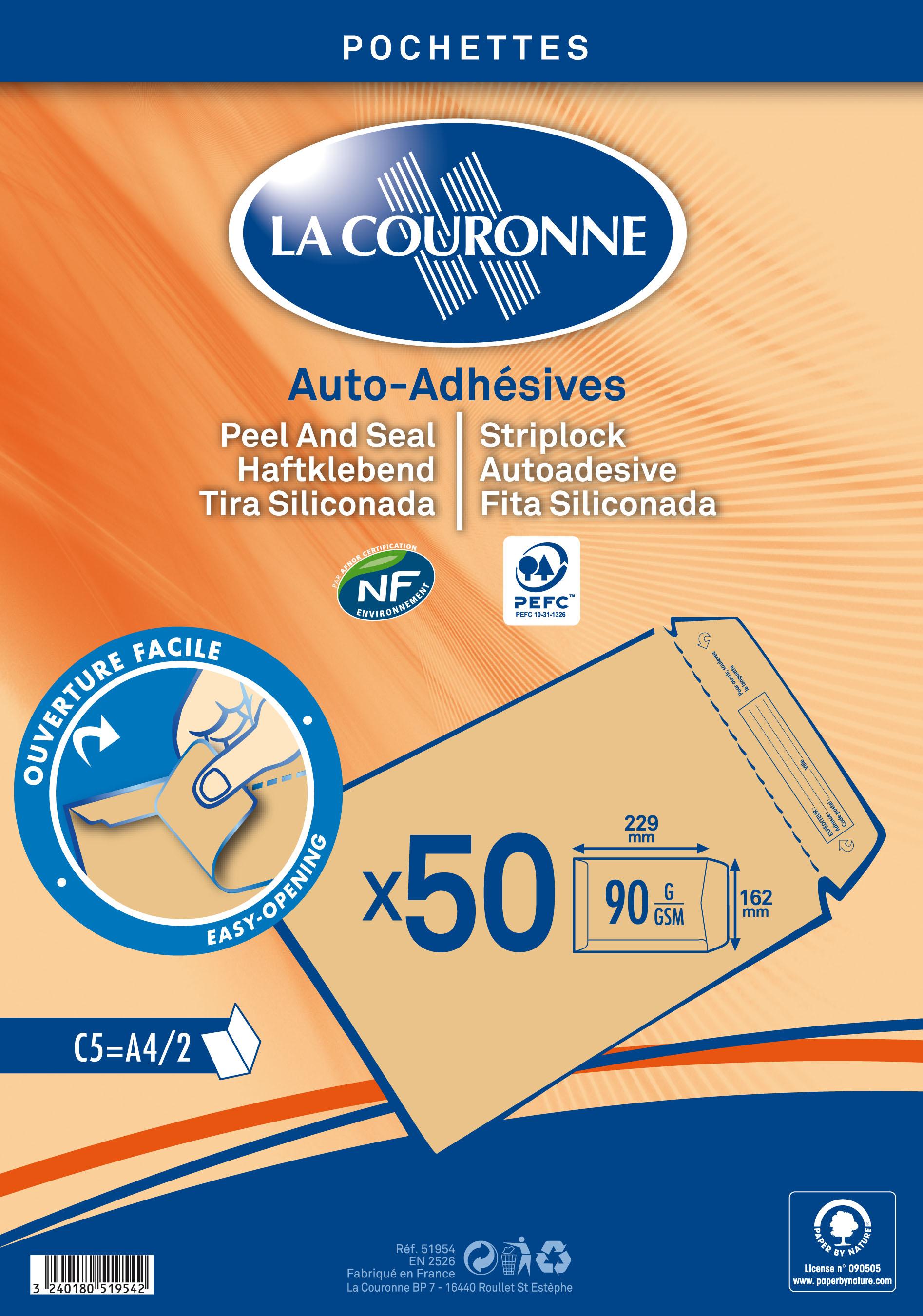La Couronne - 50 Pochettes Enveloppes C5 162 x 229mm - 90 gr - sans fenêtre - brun - bande auto-adhésive