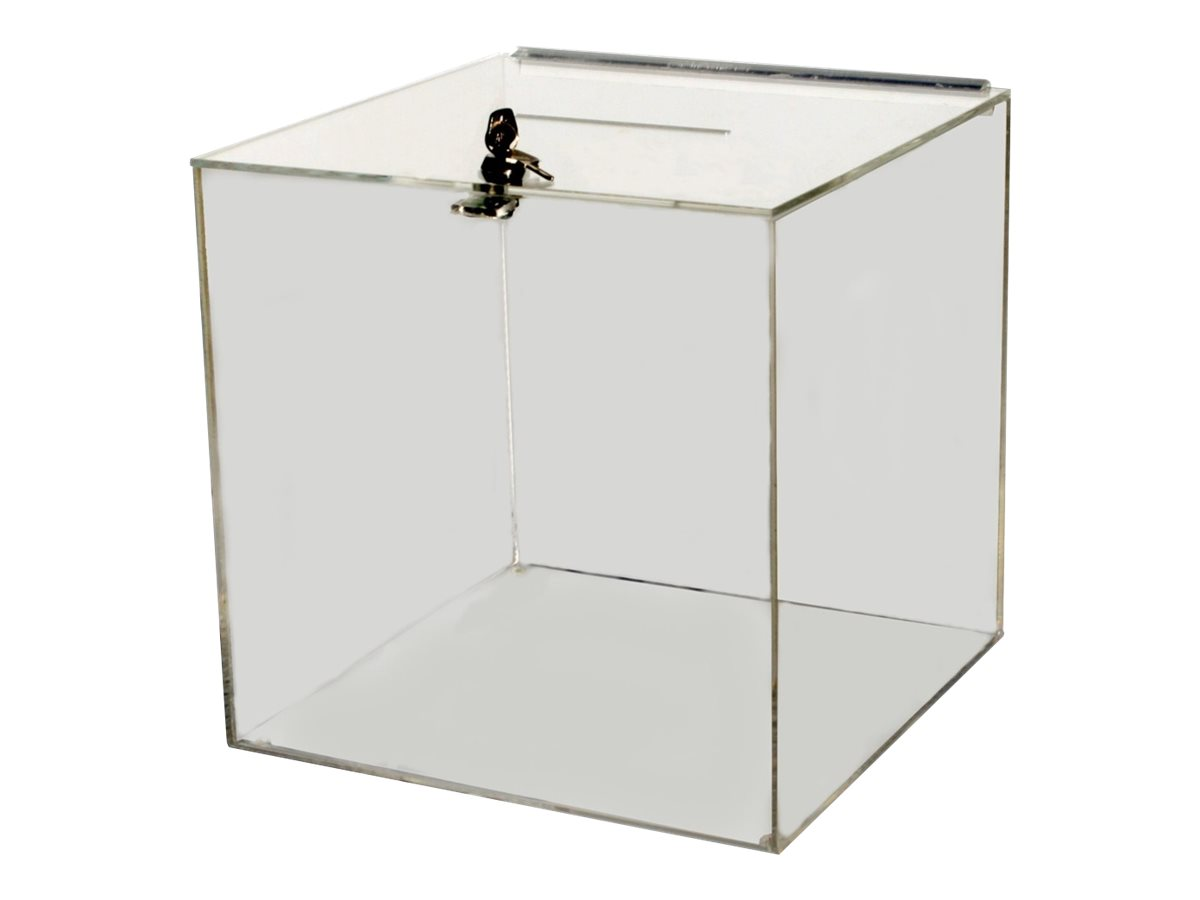 Promocome - Urne de comptoir sécurisée - couvercle équipé d'une serrure - 25 x 25 x 25 cm - incolore