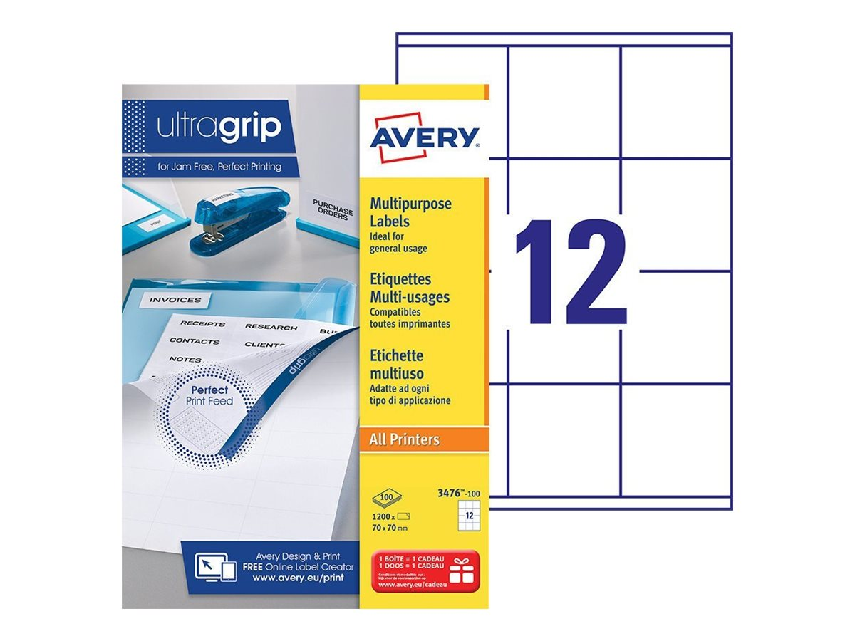 Avery - 1200 Étiquettes multi-usages blanches - 70 x 70 mm - réf 3476-100