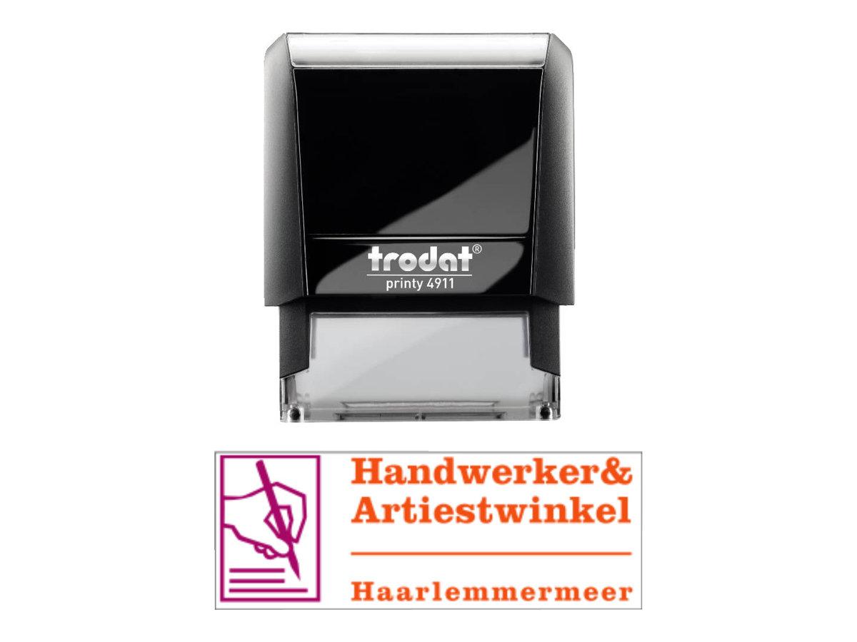 Trodat Printy 4911 - Tampon auto-encreur - 3 lignes - texte personnalisable