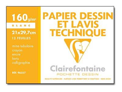 Clairefontaine Dessin à Grain - Pochette papier à dessin - 12 feuilles - A4 - 160 gr - blanc