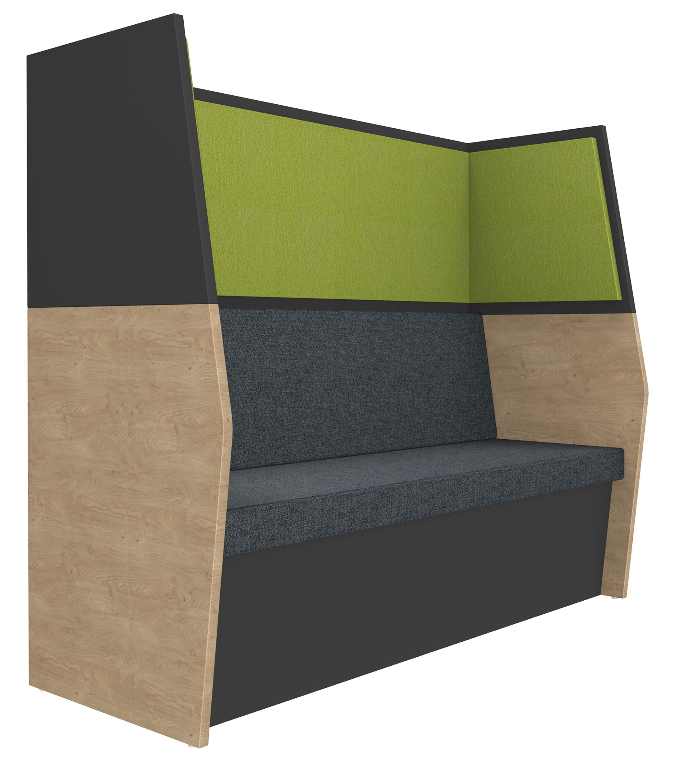Banquette acoustique IN'TEAM - L170 x H 150 x P170 cm - 3 places - structure chêne clair et carbone - panneaux vert chartreux