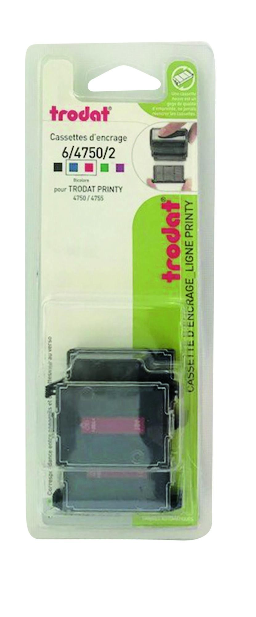 Trodat - 3 Encriers bicolores 6/4750 recharges pour tampon Printy 4755 - bleu/rouge